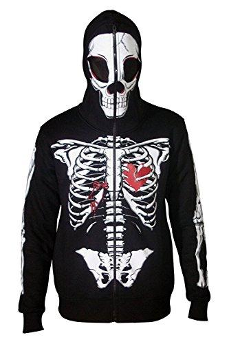 Skeleton Halloween Costume Face (Men Full Face Mask Skeleton Skull Hoodie Sweatshirt Halloween Costume Hoodie Black)