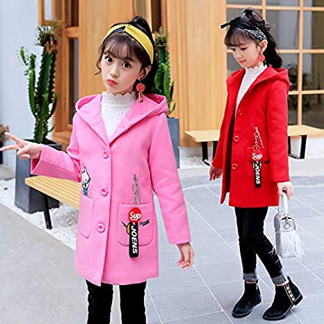 MV Childrens Clothing Girls Woolen Coat Autumn Winter Cartoon Hooded Windbreaker