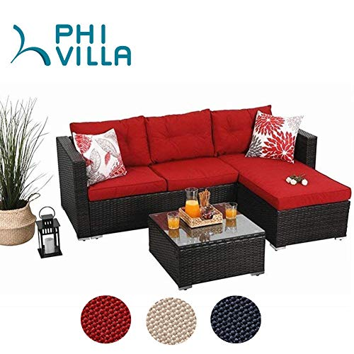 PHI VILLA Patio Furniture Outdoor Sofa- Patio Wicker Furniture Set (Garden Furniture Range The)