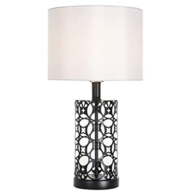 Cotulin Glitter Black Base Silver Shade Bedroom Living Room Study Coffee Table Lamp, Bedside Table Lamp with Simple Designs