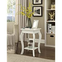 White Finish Curved Legs Accent Side End Table with Bottom Shelf