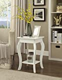 Cheap White Finish Curved Legs Accent Side End Table with Bottom Shelf