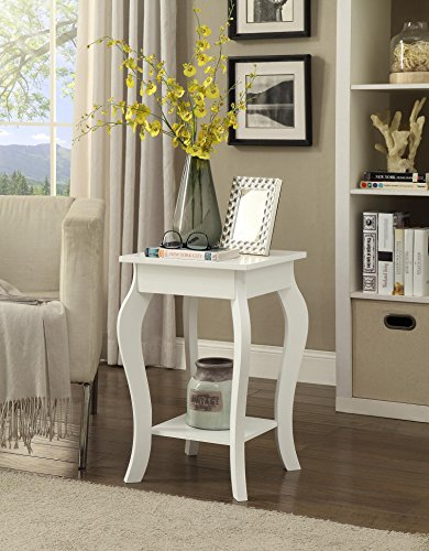 White Finish Curved Legs Accent Side End Table with Bottom Shelf (End Accent)