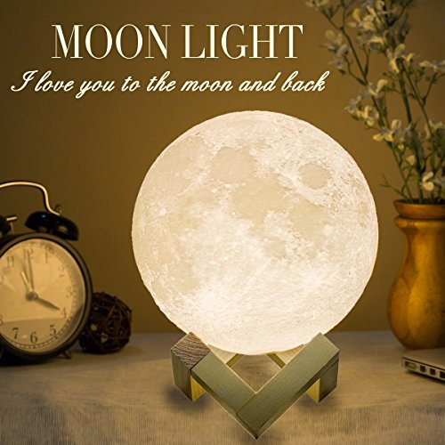 Mydethun Moon Lamp Moon Light Night Light for Kids Gift for Women USB Charging and Touch Control Brightness 3D Printed Warm and Cool White Lunar Lamp (7.1IN with Moon Light with Wood Base)