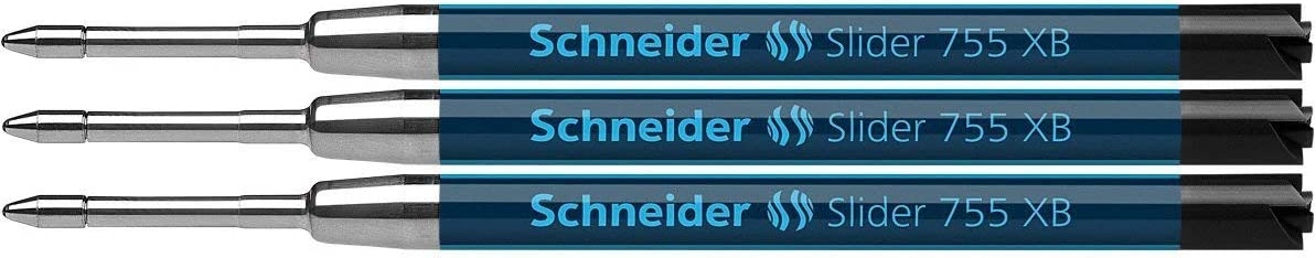 Schneider Slider 755 Ballpoint Refill, PermanentXB Black, Blister Pack of 3