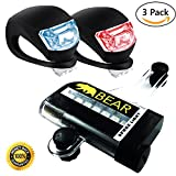 Professional Led Bike Lights Set - Front and Rear Super Bright Bicycle Light - White Headlight and Red Tailight, Waterproof, Compact, Easy Install, Quick Release, Ideal Lights for Quad, Pit, Dirt, Kids, Bmx, Mountain, Girls, Boys, Mens, e, Folding, Toddler, mtb, Off Road, Childs Bikes, and Trailers, Not USB Rechargable, Batteries and 16 LED Spoke Light Included