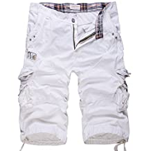 "WSLCN Men's Casual Combat Cargo Shorts Vintage Cotton Baggy Shorts Loose Relaxed Summer Retro Shorts Multi Pockets Waist 31"" White"