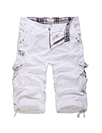 """WSLCN Men's Casual Combat Cargo Shorts Vintage Cotton Baggy Shorts Loose Relaxed Summer Retro Shorts Multi Pockets Waist 34"""" White"""