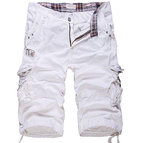 Combat Cargo Shorts - WSLCN Mens Summer Shorts Combat Cargo Shorts Cotton (Without Belt) White 36