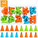 Blulu 40 Pieces Multi-colored Needle Point Stoppers Needle Point Protectors Needles Knitting Accessories with Plastic Storage Box, 2 Sizes