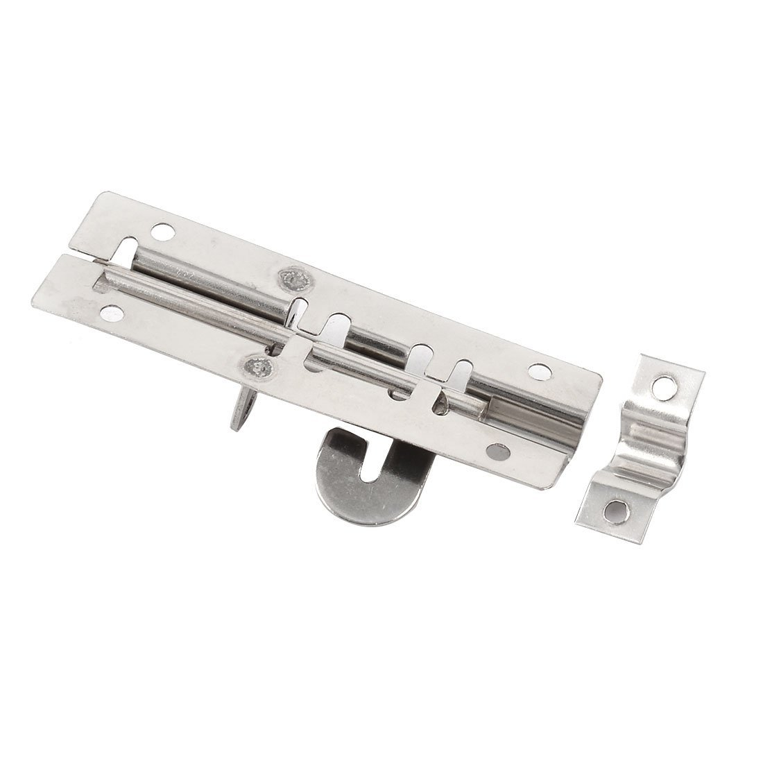 eDealMax puerta de la puerta del gabinete 10.5cm largos de acero inoxidable Pestillo Barril Perno de diapositivas tono Plata 3 PCS - - Amazon.com