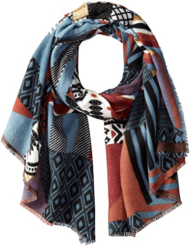PURE STYLE Girlfriends Women's Patchwork Pattern Oversize Squre Wrap with Fringe Edge Detail Winter Scarf Shawl Pashmina, Multi, One Size