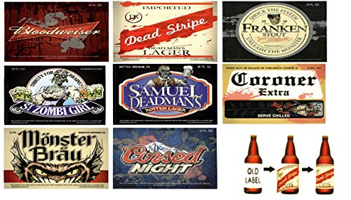 Beer Bottle Label Stickers for Water, Soda and Beer Refreshments - Horrifying Beverage Labels, 24 Pieces]()