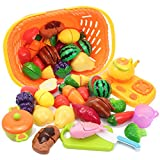 AMOSTING Kids Pretend Play Kitchen Food Set,Cutting Fruits & Vegetables Educational Toys Cooking Set