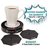 "Bravo Line Coffee Mug Warmer with Automatic Shutoff - Best Electric Beverage Warmer for Desk - Extra Large - 3.87"" with 2 FREE Drink Covers - Perfect Drink Warmer for All Cups and Mugs"