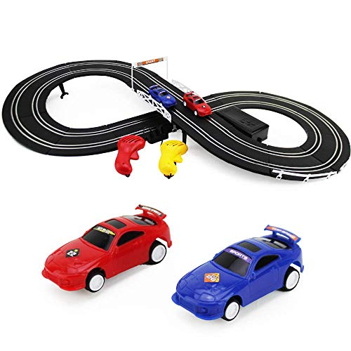 Boley Slot Car Racing Track Set - Build Your Own Electric Double-Rail Racing Track - 2 Cars and 2 Hand-Operated RC Controllers Included - Perfect for Birthday Gifts and Party Favors