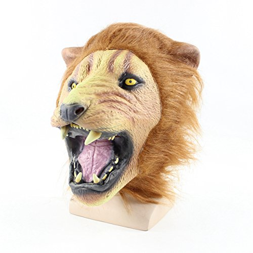 Halloween Party Costume Film Prop Lion Deluxe Latex 3D Masks Brown