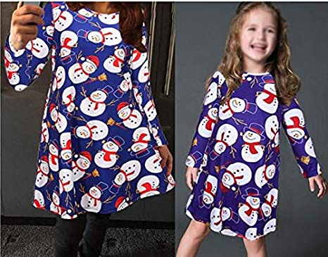 9ca14cf2dda4f Image Unavailable. Image not available for. Colour: Christmas Dress Mother  Daughter Dresses Family Matching Clothes ...