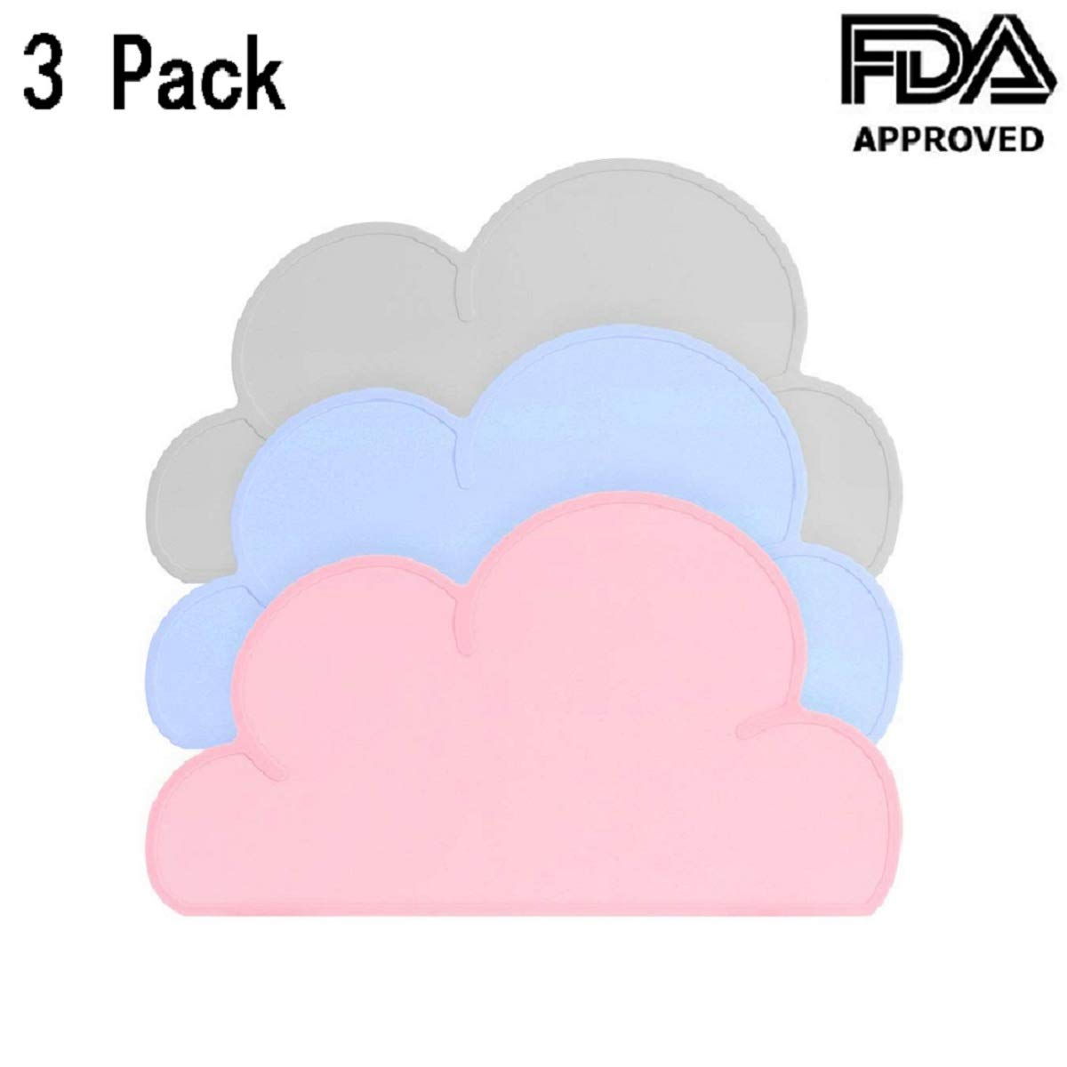 3PCS Kids Silicone Cloud Placemat,Portable Roll up Placemat for Kids Baby Toddlers,Portable Food Mat- Space Saving Rolls Up&Easy to Clean