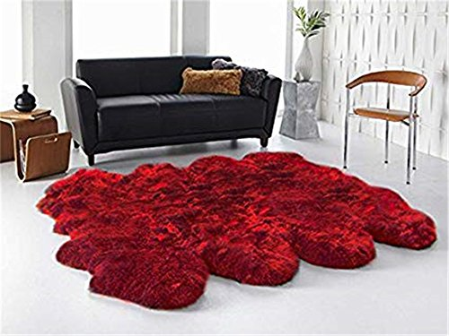 Sheepskin Rug Real Fur Long Wool Home Decor Cushion Carpet Lambskin Fur Rug Chair Seat Pad Shaggy Octo Pelt Natural Fur,Burgundy Octo 6.6ft x 6.6ft