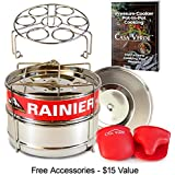 RAINIER Stackable Instant Pot Pressure Cooker Steamer Insert Pans Fits 6/8 Qt Models | Heavy Duty Food-Grade Stainless Steel | Accessories Include - 2 Lids, Egg Trivet, Oven Mitts, Easy-Lift Handle