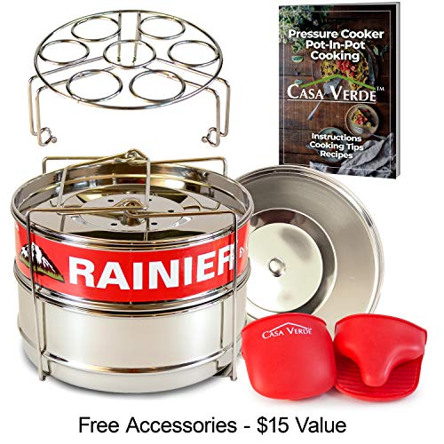 (RAINIER Stackable Pressure Cooker Steamer Insert Pans Fits Instant Pot 6/8 Qt Models | Heavy Duty Food-Grade Stainless Steel | Accessories Include - 2 Lids, Egg Trivet, Oven Mitts, Easy-Lift Handle)