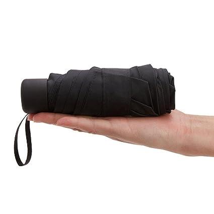 Aolvo Mini paraguas de viaje compacto, portátil al aire libre Pequeño sol y lluvia paraguas