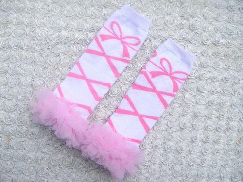 (Baby Toddler Girl Pink & White Ballet Lace Ruffles Leg Warmers Leggings Socks Photography Photo)