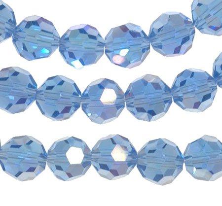 Light Sapphire Blue Ab Crystal Round Beads Strand 8mm 16