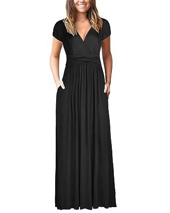 2e0efdcea09 OUGES Womens Long Sleeve V-Neck Wrap Waist Maxi Dress at Amazon ...