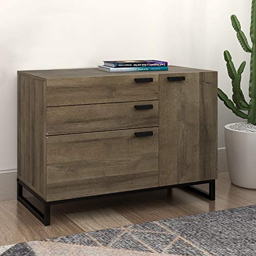 WLIVE Wide Dresser with 3 Drawers and 1 Side Cabinet, Storage Drawer Chest for Home Office