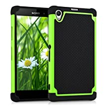 kwmobile Hybrid Case for Sony Xperia Z1 in green black. TPU Inner-case, Hardcase shield! Perfect for outdoor usage of your smartphone and topmodern