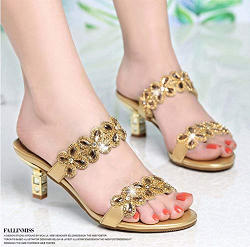 Piel Con Diamantes De Elegantes Diamante Tacón Mujer Zapatillas Imitación Medio Y Gold Hrn Sandalias Verano tapwTT