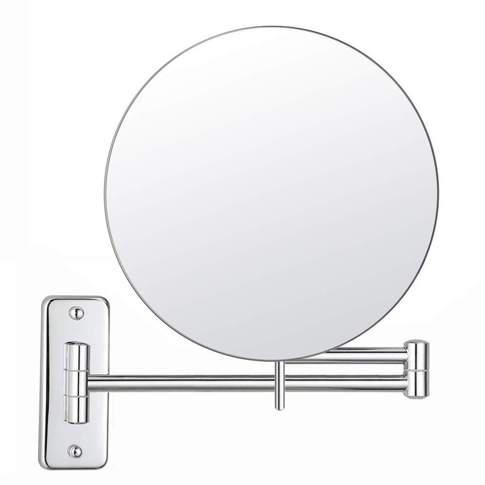 MIRRORMORE 8'' Wall Mounted Makeup Mirror, Magnifying Mirror with 3X with Magnification, Senior Pearl Nickel Bathroom Mirror with 16.4-Inch Extendable Arm(350° Swivel)
