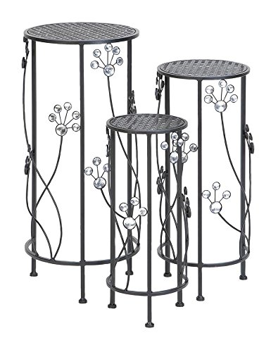 Deco 79 63345 3-Piece Metal Outdoor Plant Stand Set, Round