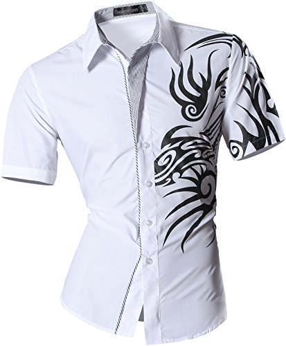 jeansian Men's Slim Dragon Short Sleeves Dress Shirts Z031 White M