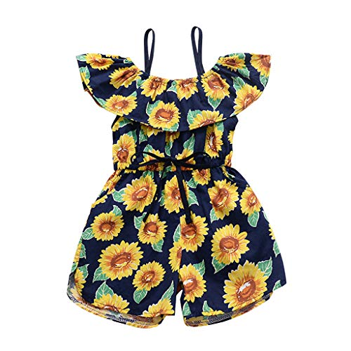 TIFENNY Toddler Kids Rompers Girls Sleeveless Ruffles Sunflower Print Overall Jumpsuit Pants Sling Clothes Shorts -
