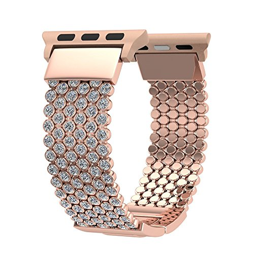 Compatible Apple Watch Band 42mm for Women Girls, FresherAcc Bling CZ Crystal Diamond Loop Replacement Strap for iWatch Series 1, 2, 3, Sport Edition Nike+ Hermes (42mm Rose ()