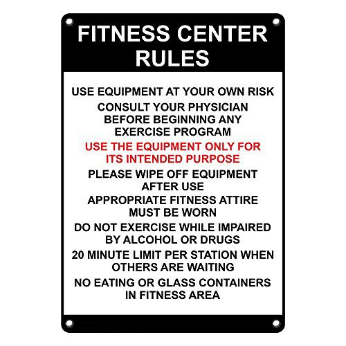 Weatherproof Plastic Vertical Fitness Center Rules Use Equipment Sign with English Text