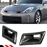 FOR 2003-2009 NISSAN 350Z Z33 LEFT + RIGHT CARBON FIBER BUMPER AIR DUCT INTAKE VENT COVERS PAIR