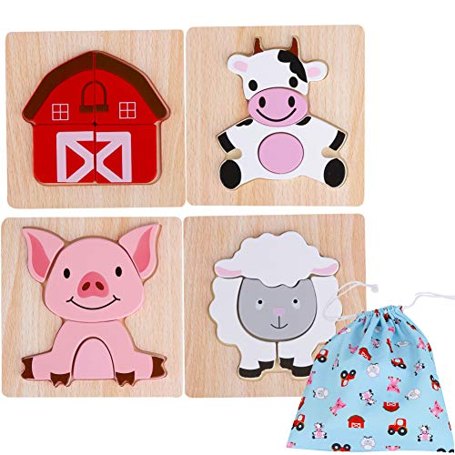 Toddler Wooden Jigsaw Puzzles Chunky – (Pack of 4) Educational Toys for Preschool Kids Ages 1 2 3 Year Old Boys or Girls Gift with Matching Canvas Bag – Farm Wooden Animals Set Developmental Games