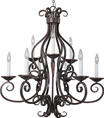 Maxim Lighting 12216OI/SHD123 Nine Light Up Chandelier, Oil Rubbed Bronze