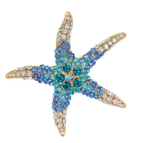 Stunning Crystal Starfish Brooch Pin Wedding Bridal Star