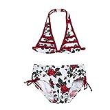 Infant Kids Girls Adjustable Strap Floral Ruched Swimwear High Waist Beach Swimsuit Bikini Bathing Suit Set