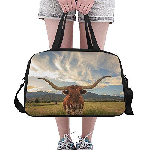 (Unique Debora Custom Weekend Travel Bag Unisex Travel Gear Luggage for Texas Longhorn Steer In Rural Utah)
