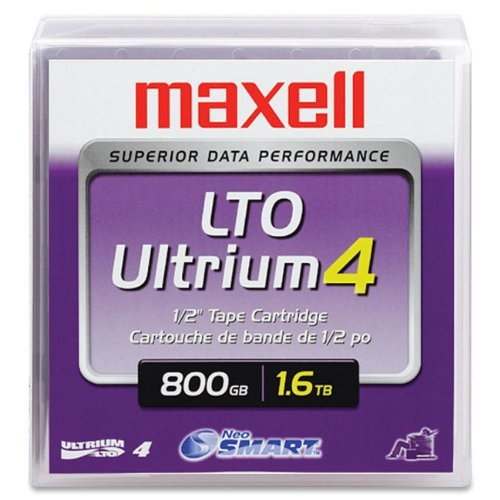Wholesale CASE of 5 - Maxell LTO Ultrium 4 Data Cartridge-LTO 4 Cartridge, 1.6TB, 800 GB, 120 Transfer Rate, Teal by Max
