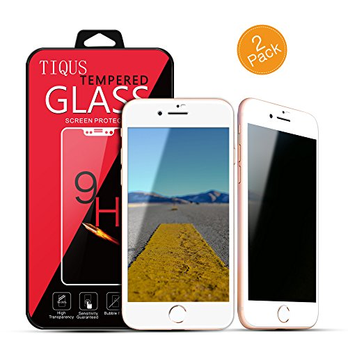 8 7 Privacy Screen Protector, TIQUS 2Pack (3D Curved) Anti-Spy 9H Tempered Glass Film Screen Protection Compatible for iPhone 8 iPhone 7 (White)