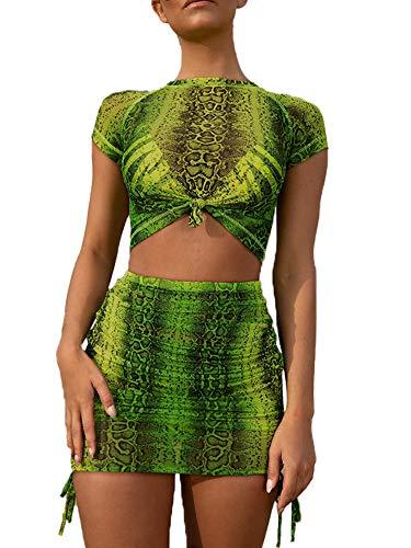 Womens Snakeskin Print Cap Sleeve Crop Top Tie Side Bodycon Mini Skirt Clubwear S Green ()