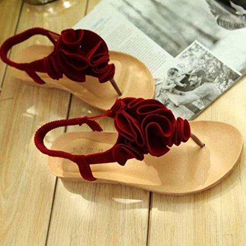 ® Bohême d'été Transer Rouge sandales fleurs Femmes Z6wxtq8d