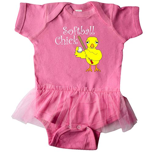 inktastic - Softball Chick White Infant Tutu Bodysuit 6 Months Raspberry 2f607
